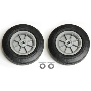 Solid Rubber Wheel Kit with two wheels and screws.